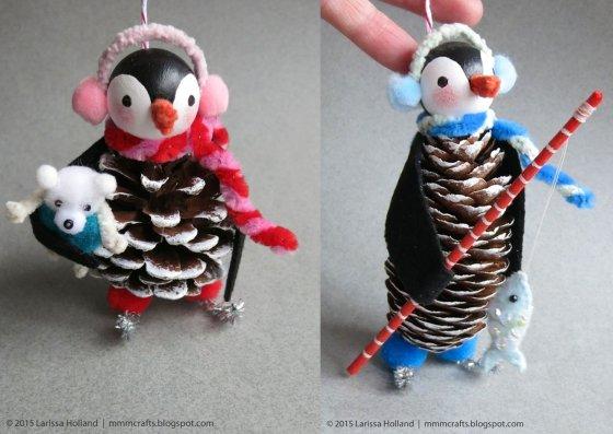 новогодние шишки для детей пингвины