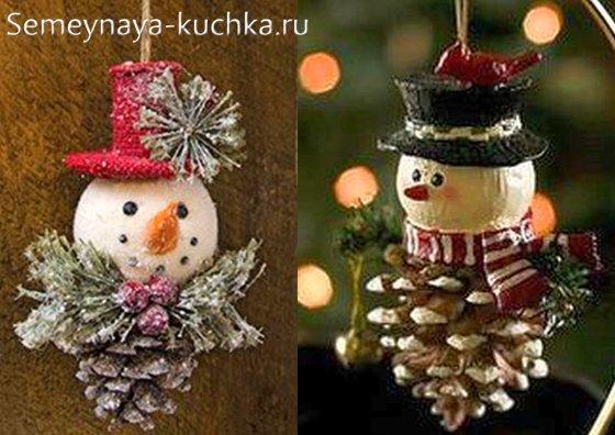 новогодние поделки снеговики из шишек