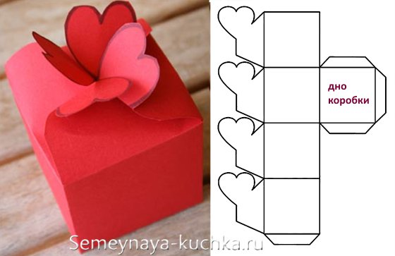схема коробки с сердечками на День Валентина