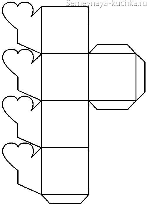 схема чертеж коробки на День Влюбленных