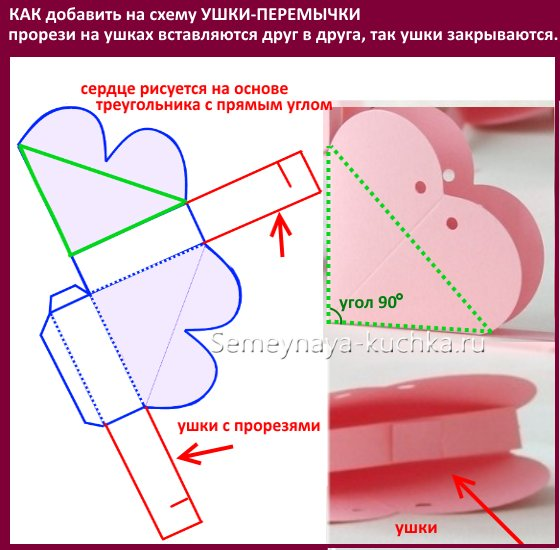 схема коробочки с сердечком