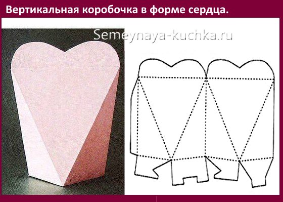 шаблон коробочки с сердечком