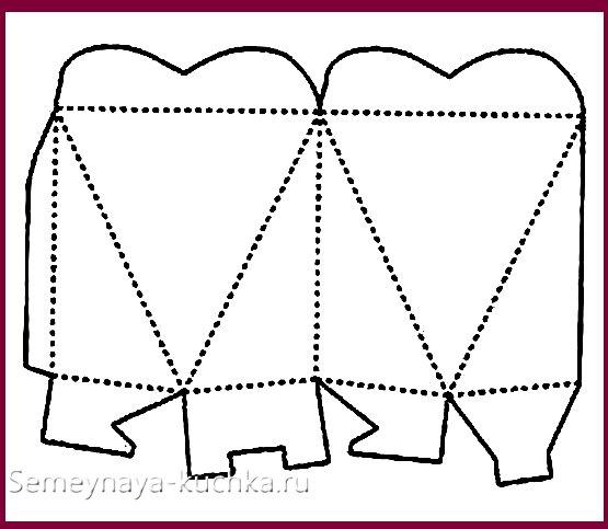 схема трафарет коробки с сердцем
