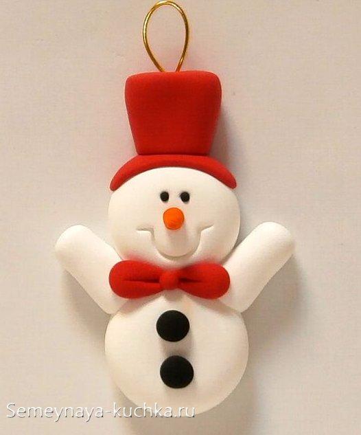 новый год из пластилина снеговик