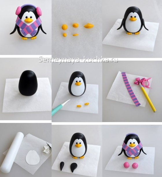 пингвин из пластилина на новый год
