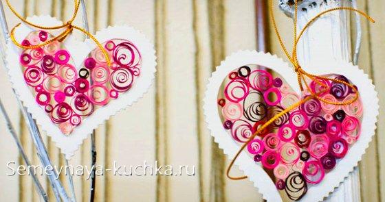 поделка сердце из бумаги на день Влюбленных