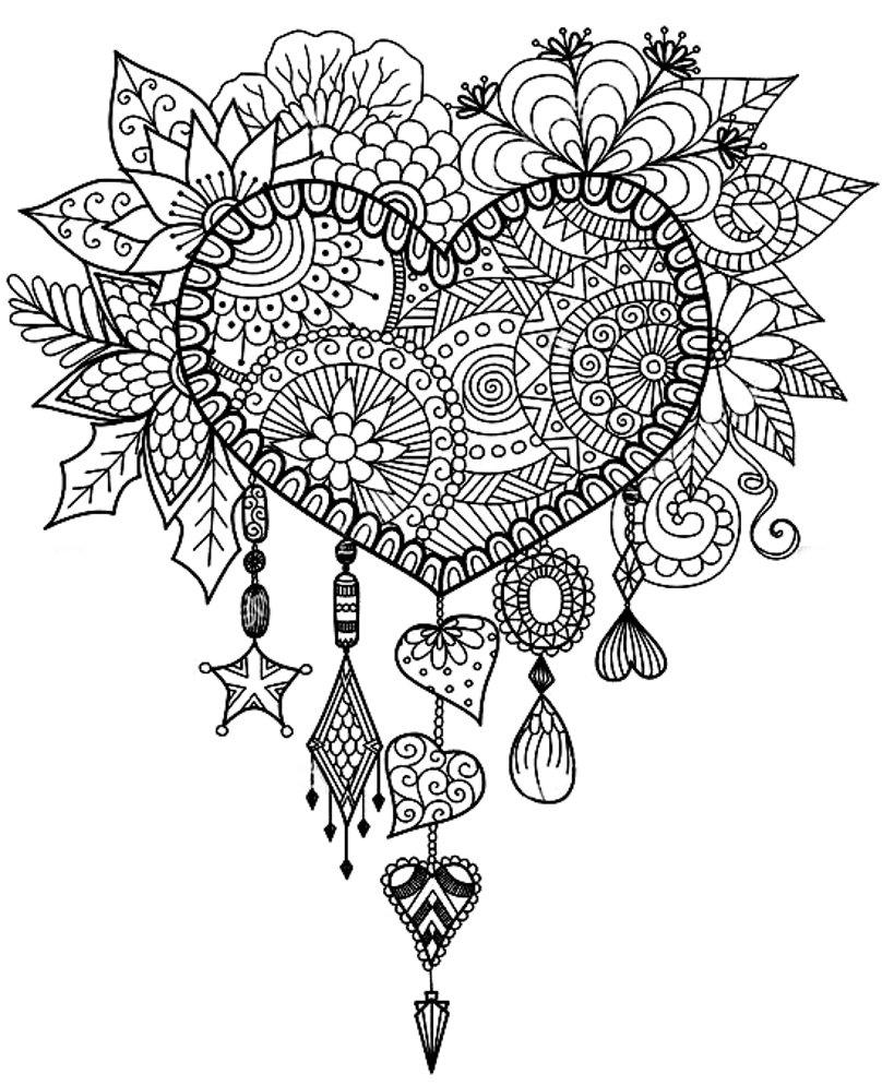 раскраски с сердечками антистресс для взрослых