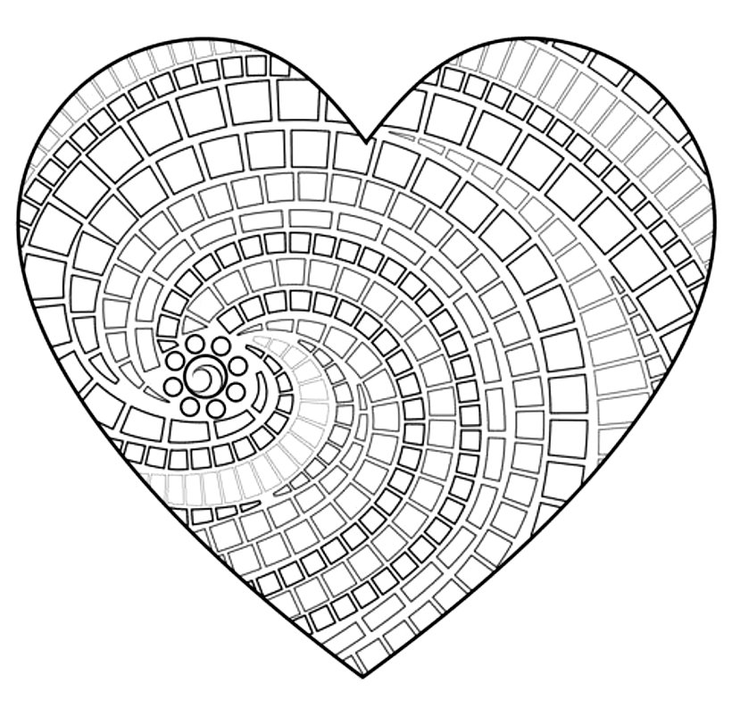 раскраска сердце мозаика