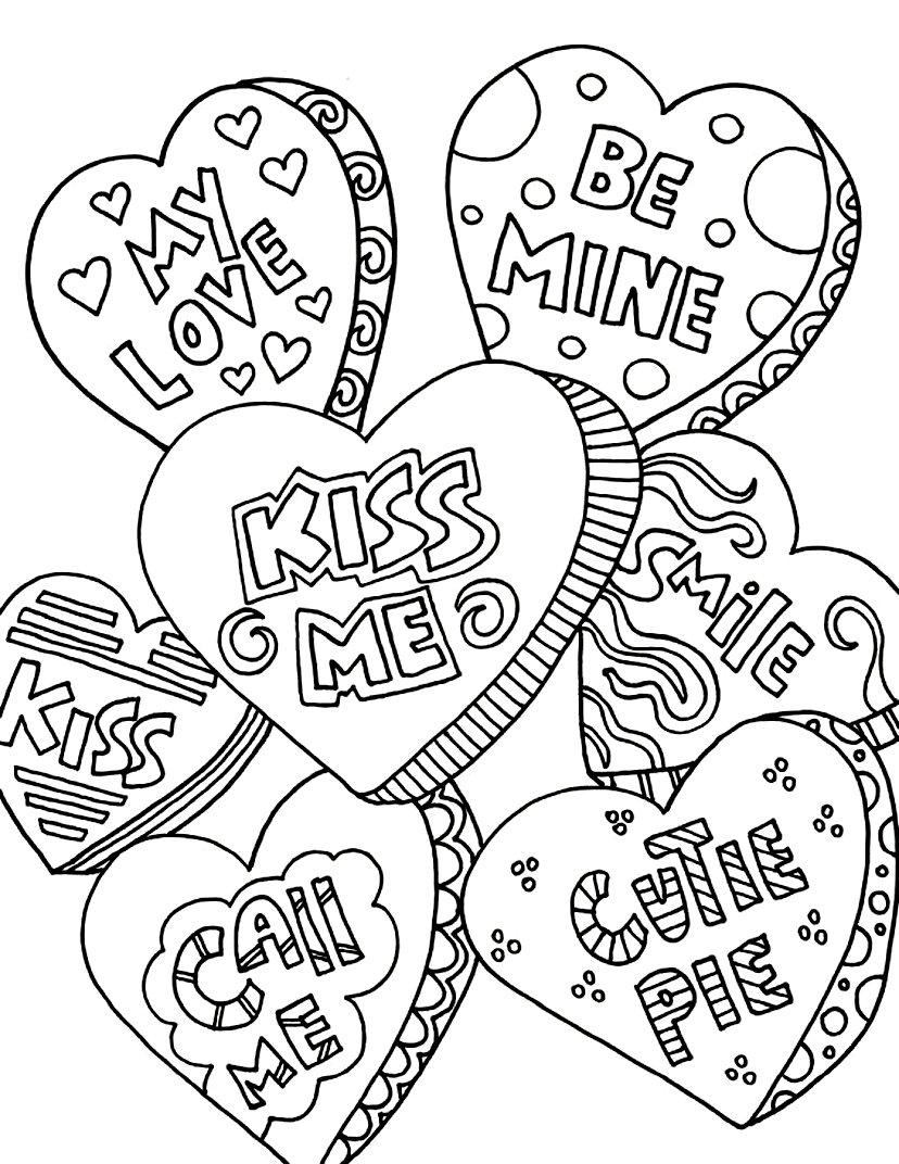 раскраски на день валентина для детей