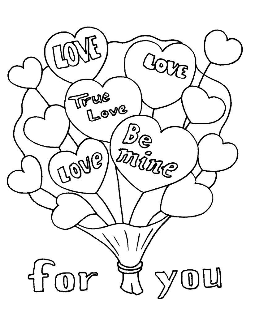 раскраски на открытку валентинку детям