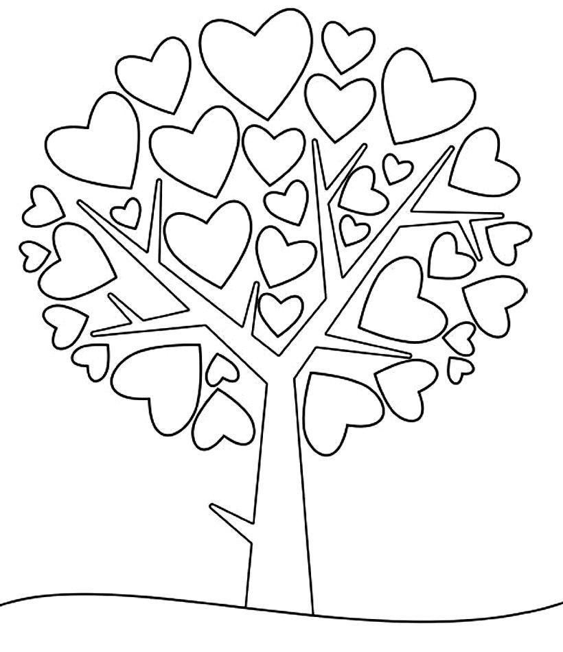 раскраска детская с сердечками