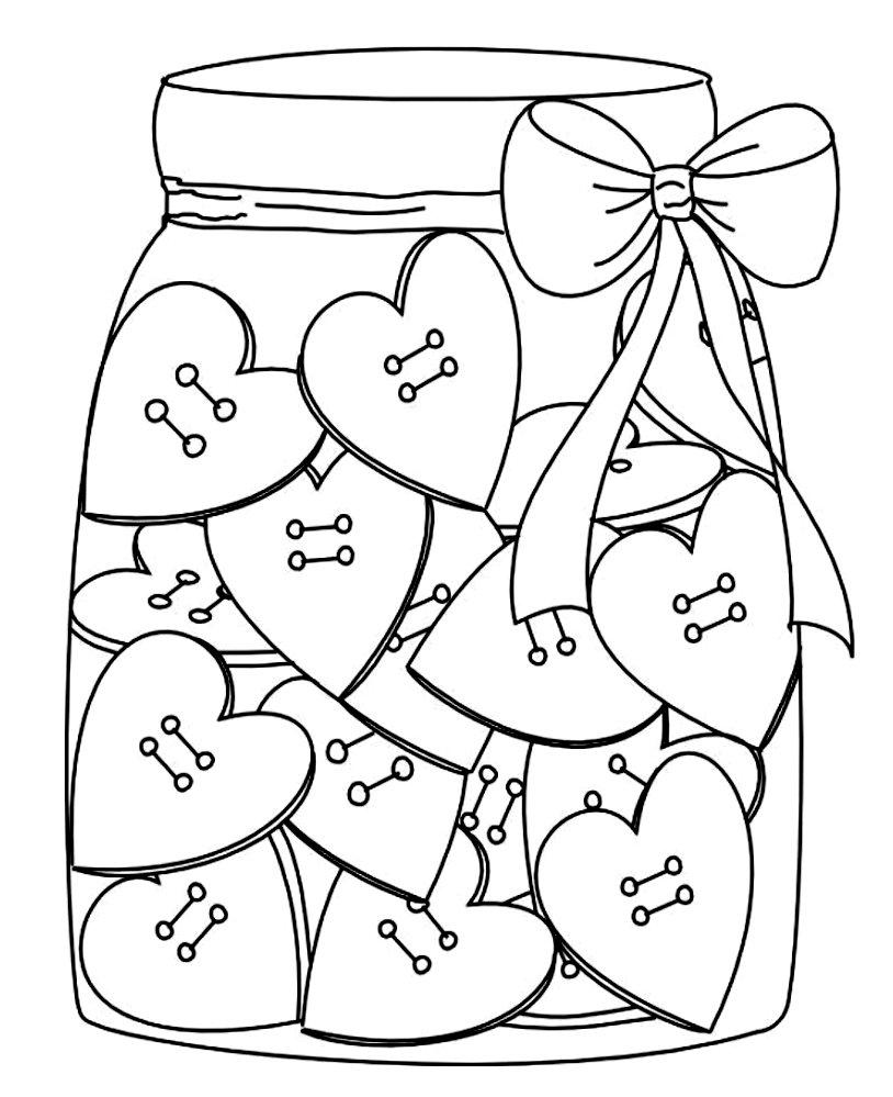 раскраска с сердечками