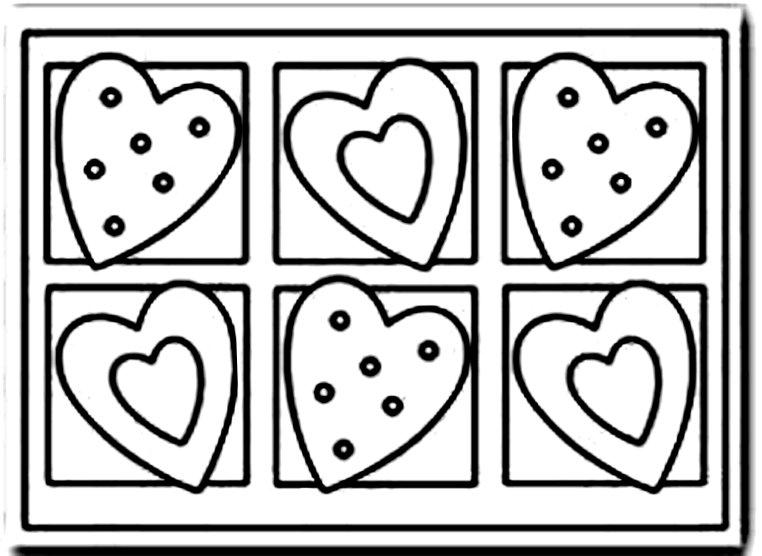 раскраска с печеньем сердечками