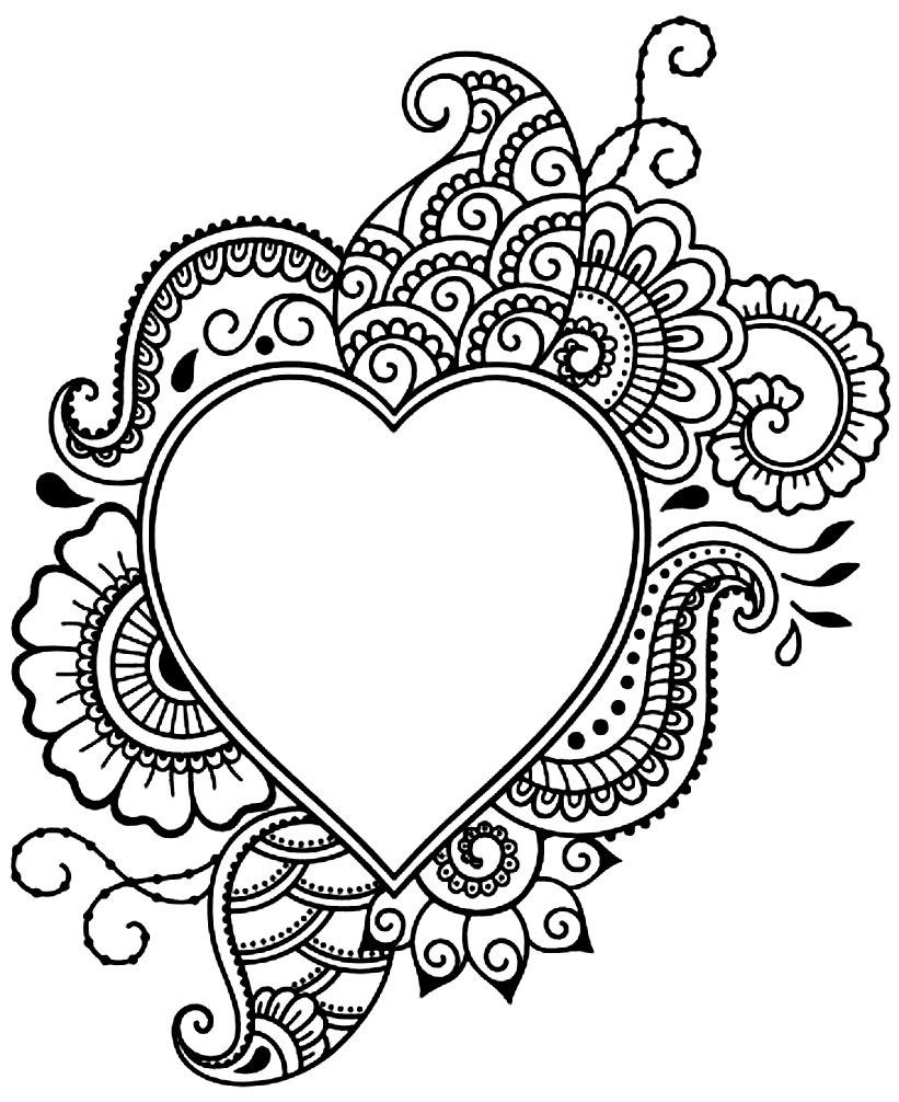 раскраски антистресс с сердечками
