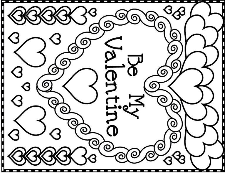 разукрашка для открыткис сердечками