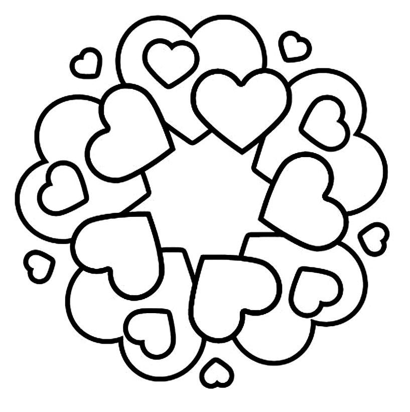 раскраска с сердцем на открытку