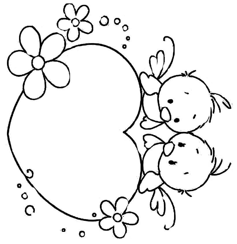 раскраска детская с сердцем и птицами