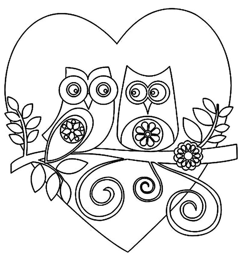 раскраска сердце и совы