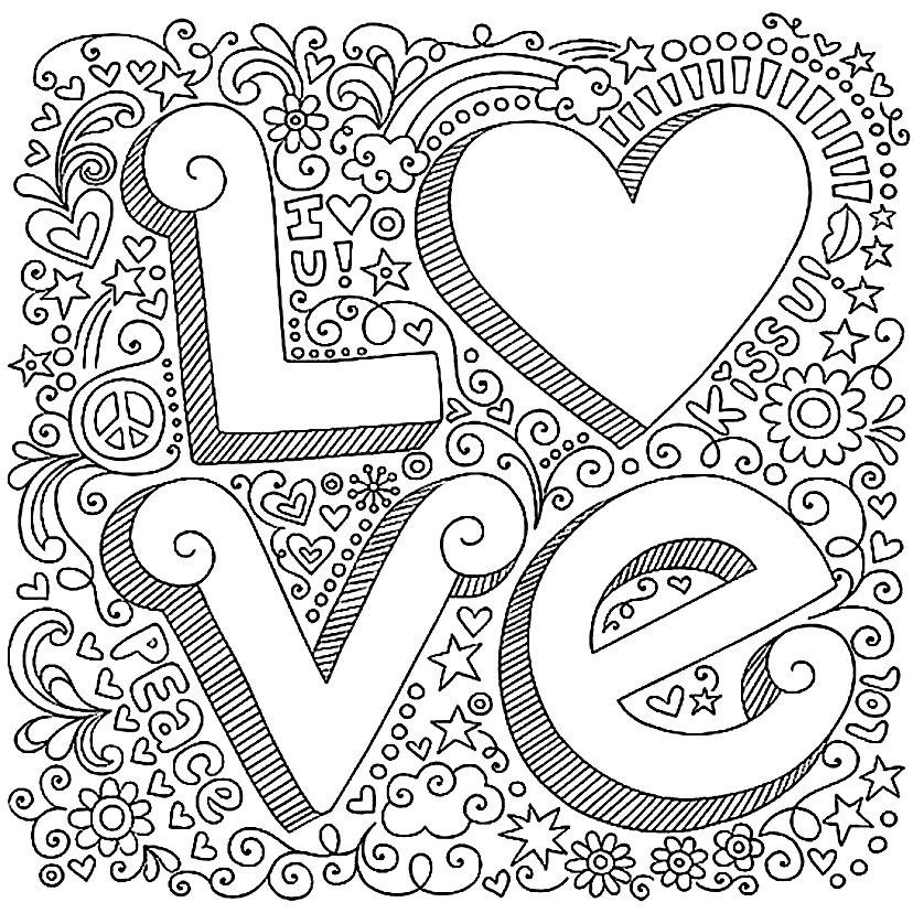 раскраска квадратная с сердцем