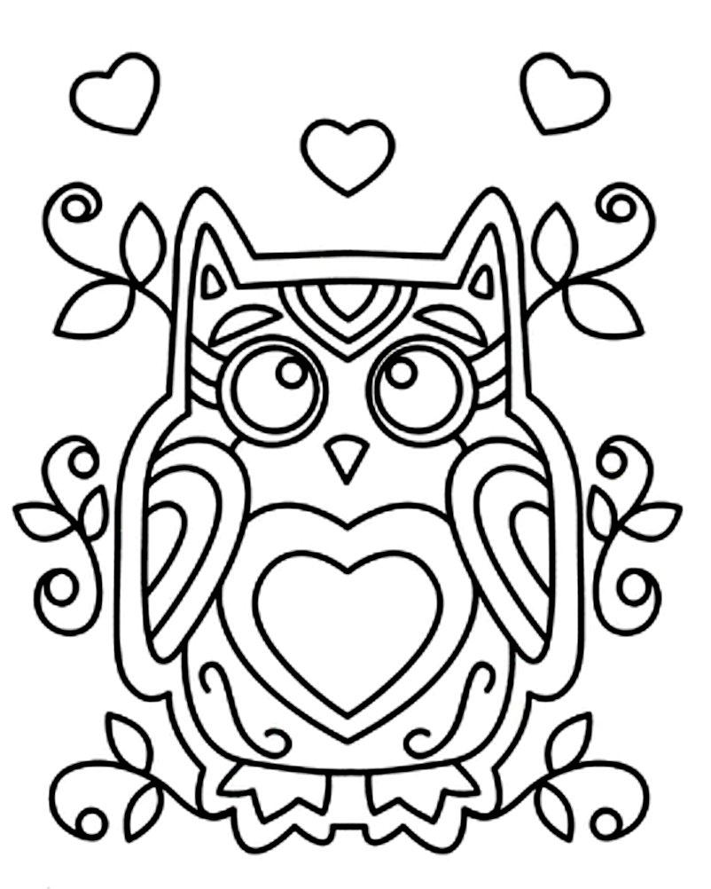 раскраска сова с сердцем
