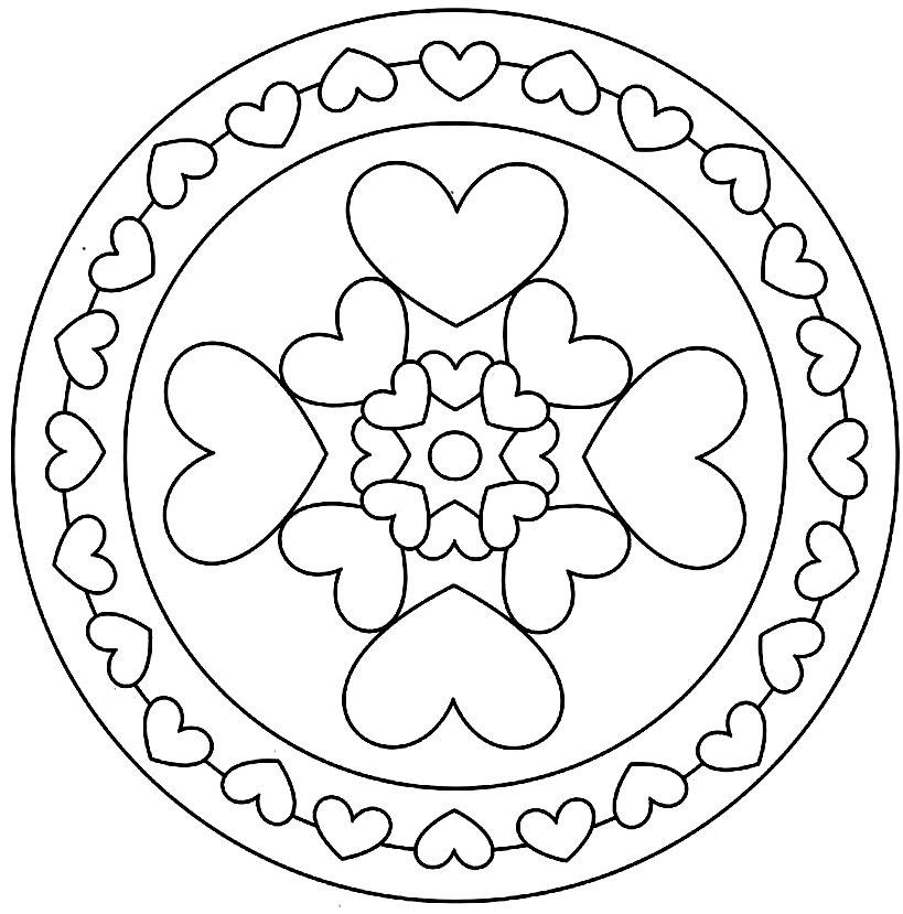 раскраска круглая шаблон с сердцем