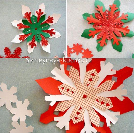 многослойные снежинки из цветной бумаги