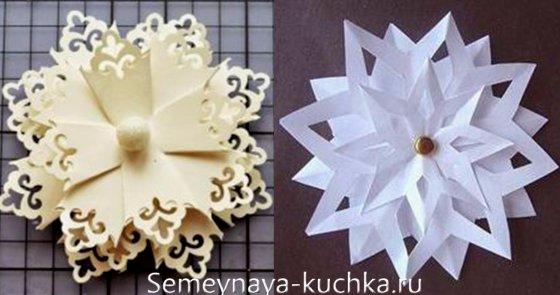 слоеные снежинки из бумаги