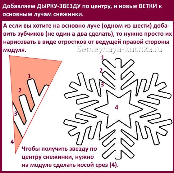 схема красивой снежинки из бумаги для начинающих