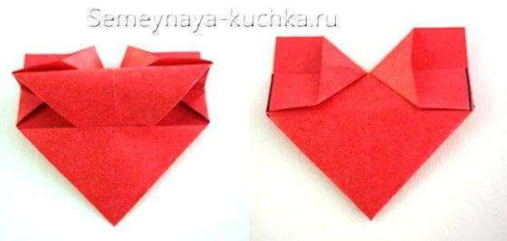 пошаговый урок валентинка оригами