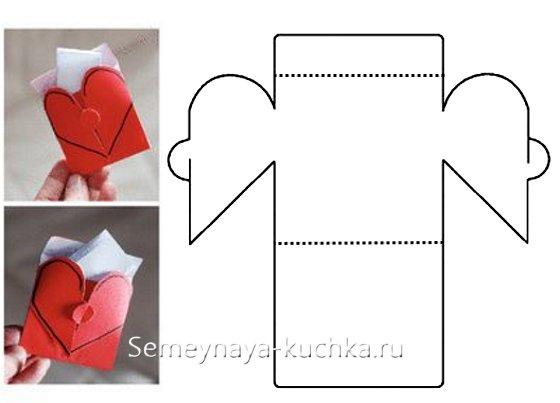 валентинка из бумаги сделать самим конвертом