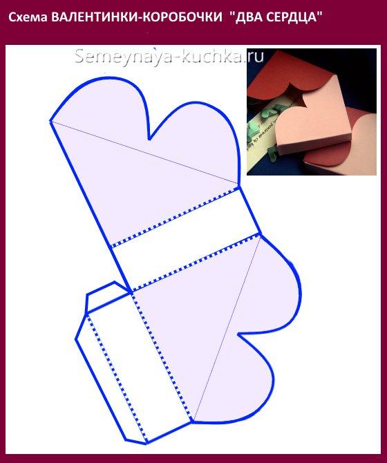шаблон схема валентинки коробочки