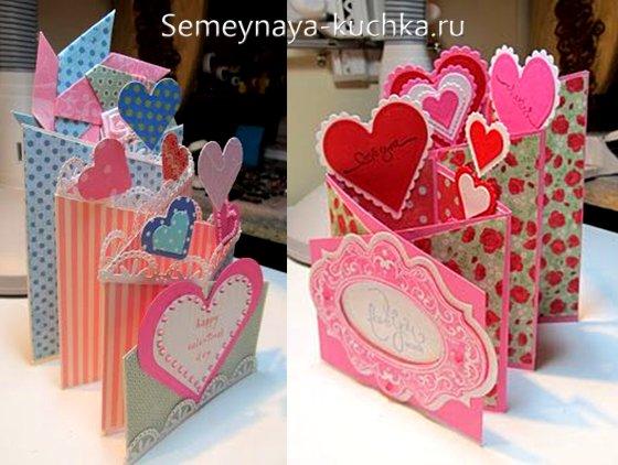 валентинки из бумаги лесенка