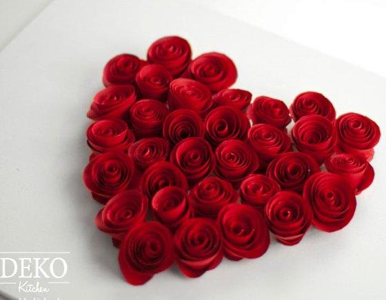 валентинка с розами из бумаги своими руками