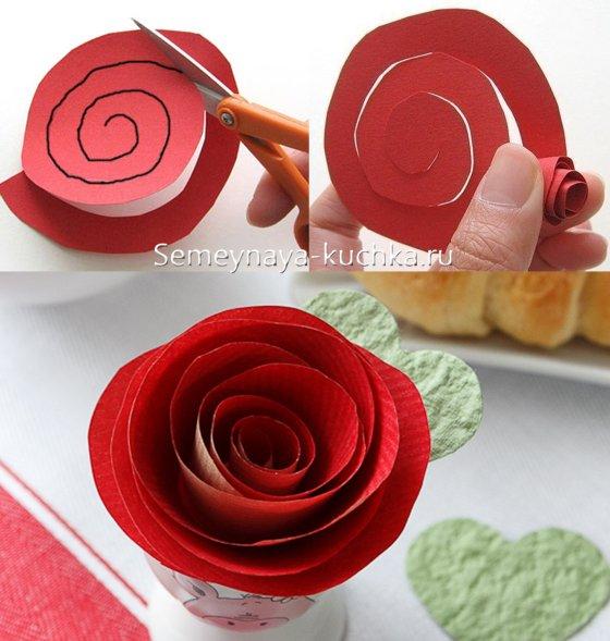 розы бумажные для валентинки