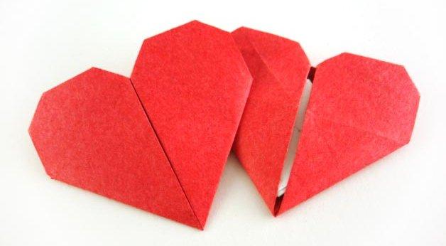 валентинка оригами из бумаги