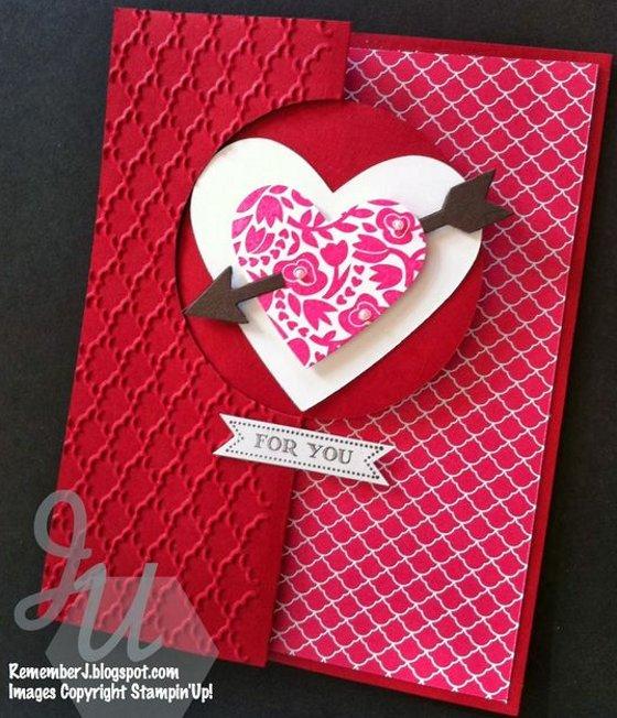 слоеная открытка на день Валентина