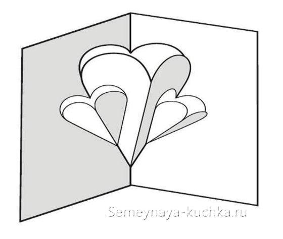 схема открытка на Валентинов День объемная