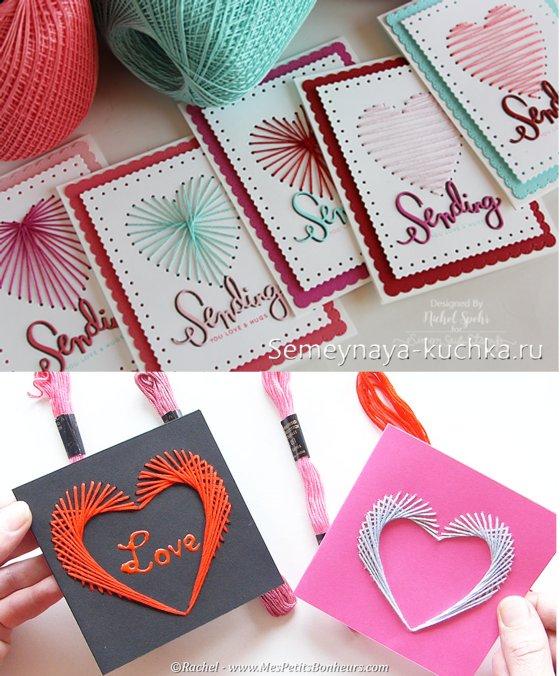 открытка из ниток на Валентинов день