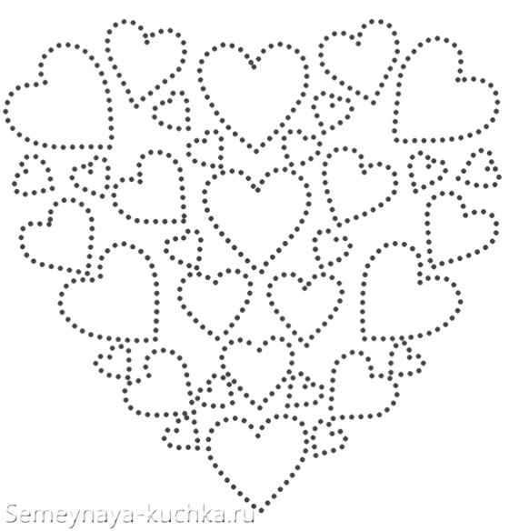 шаблон открытка из ниток на Валентинов день