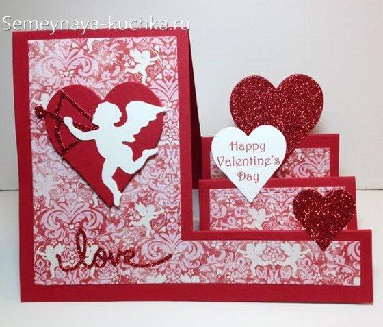 открытка гармошка на день Валентина