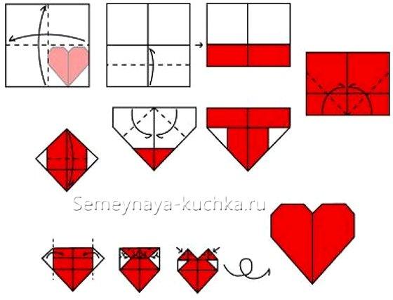 простое сердце из бумаги как сложить