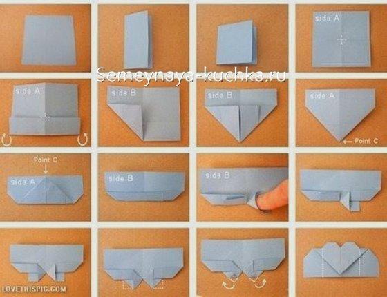 закладка для книг оригами сердце