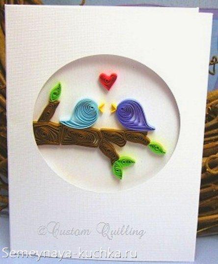 открытки квиллинг на День Влюбленных
