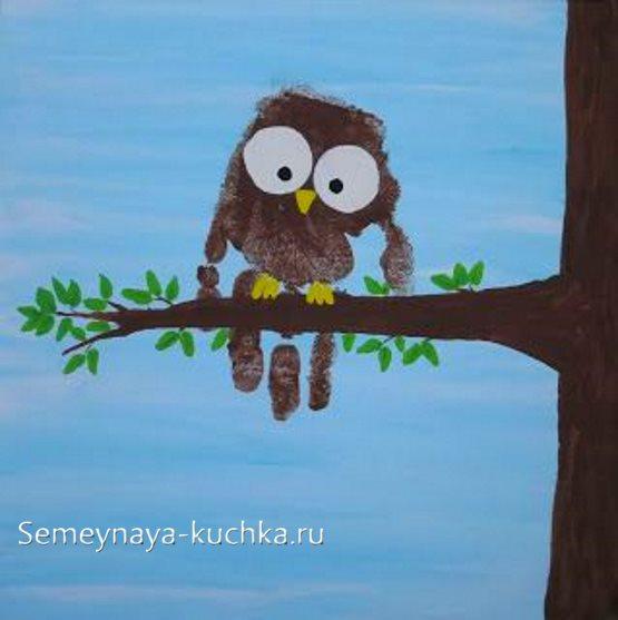 рисование ладошками для детей сова