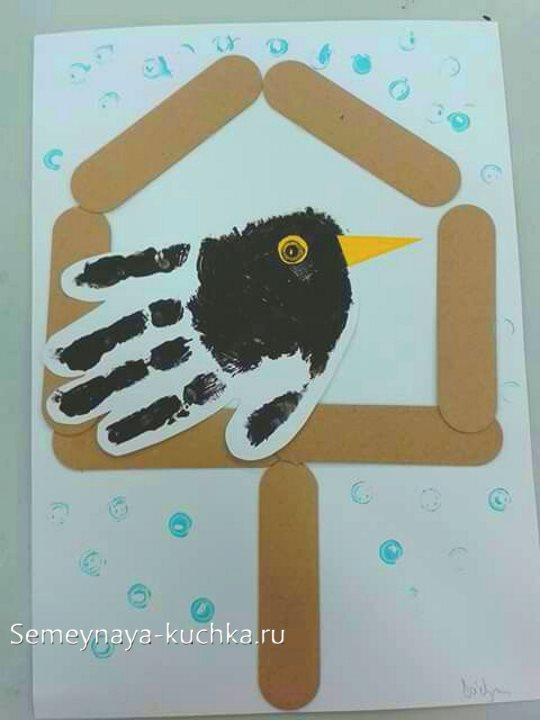 рисунки ладошками птица ворона