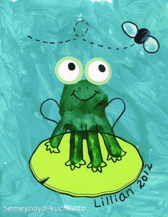 рисунки ладошками лягушка