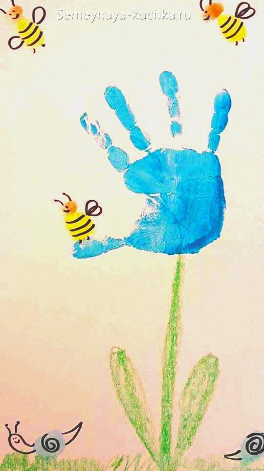 рисунки ладошками цветы