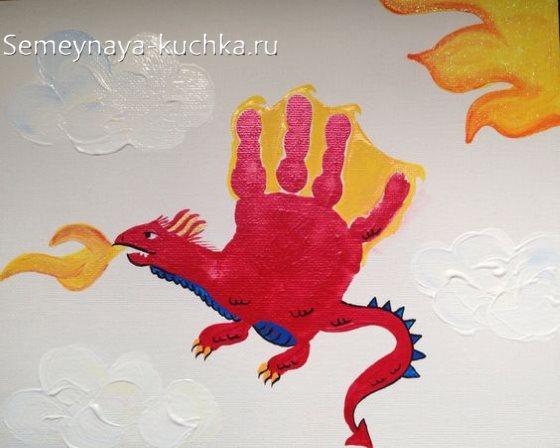 рисунки ладошками для мальчиков дракон