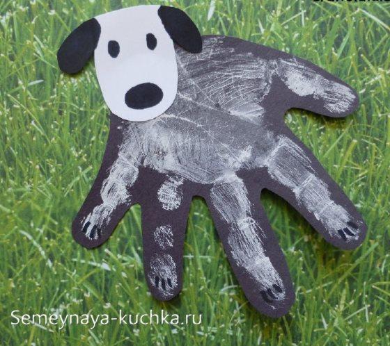 рисование ладошками собака