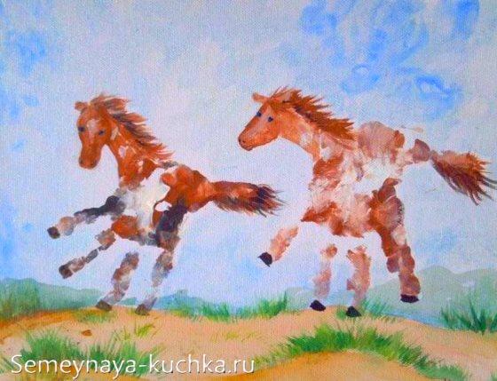 рисование ладошками мама и малыш